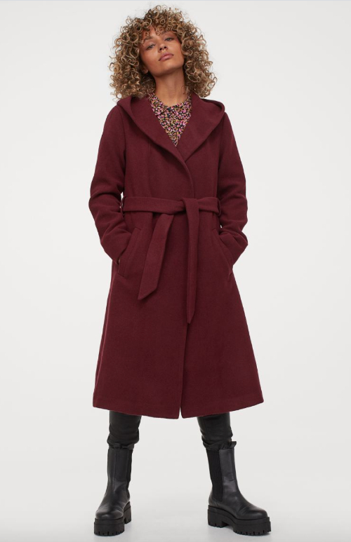 Burgundy coat with hood as inauguration 2021 dupe