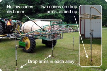 """Figure 1 – The """"perfect"""" ginseng spray boom. 25 hollow cones and four drop arms sporting 2 full cones apiece."""