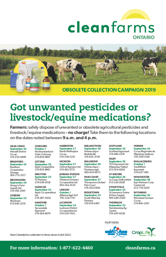 Information on the CleanFarms 2019 collection program for unwanted pesticides and livestock medications