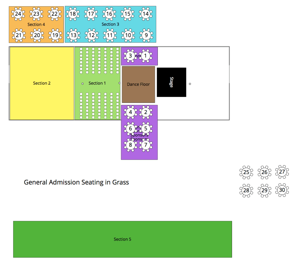 Seating Chart for Spirit of the Valley Festival