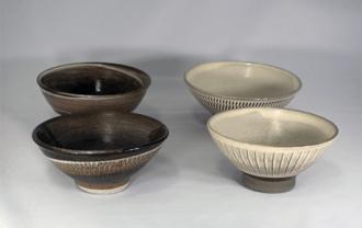 小鹿田焼 4寸飯茶碗 灰 刷毛 小袋窯