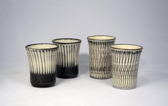 小鹿田焼 2.5寸 フリーカップ 白 トビ鉋 刷毛目 坂本浩二窯