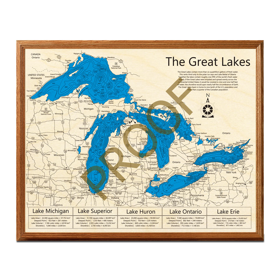 The Great Lakes Wood Map Collection  3D Topographic Wood