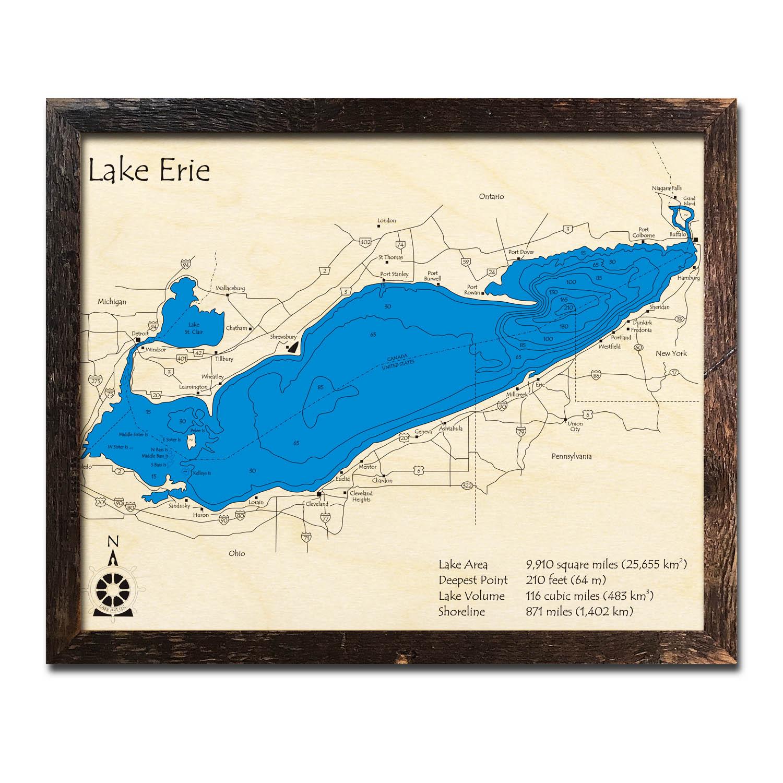 Lake Erie  Great Lakes Nautical Wood Maps