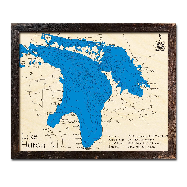 Lake Huron  Great Lakes Nautical Wood Maps