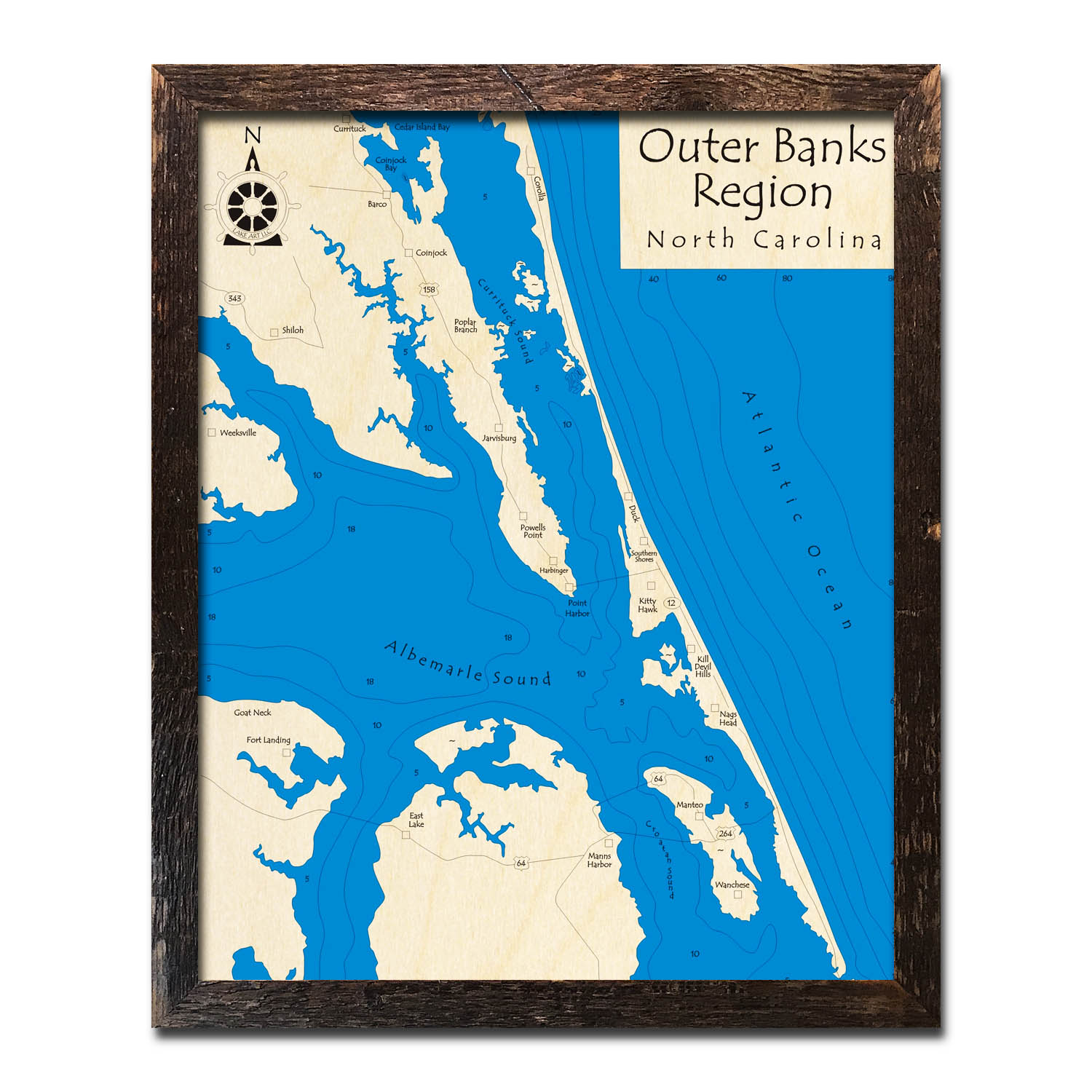 hight resolution of outer banks framed wood map in 3d