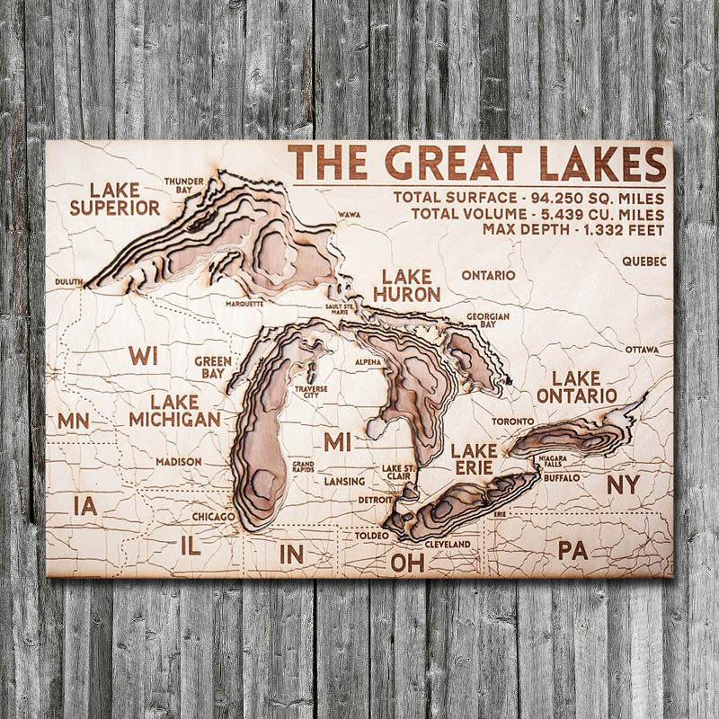 Great Lakes Wood Map  Framed 3D Nautical Wood Chart