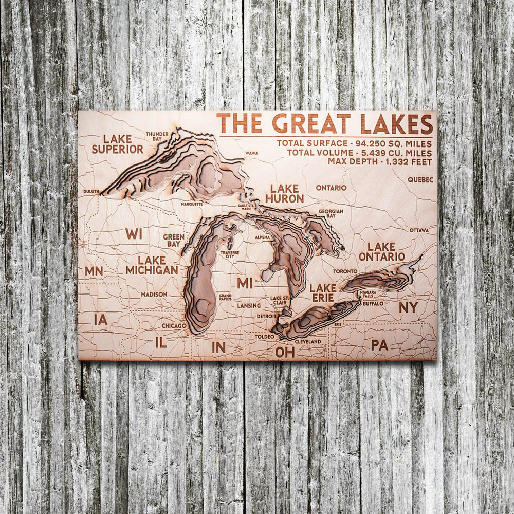 Great Lakes 3D Wood Map  On Tahoe Time