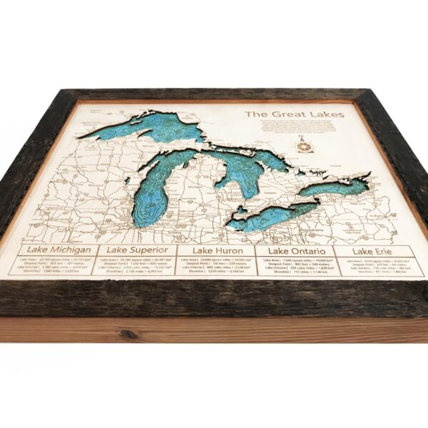Great Lakes Wood Map  Topographic Wood Chart 11 x 14