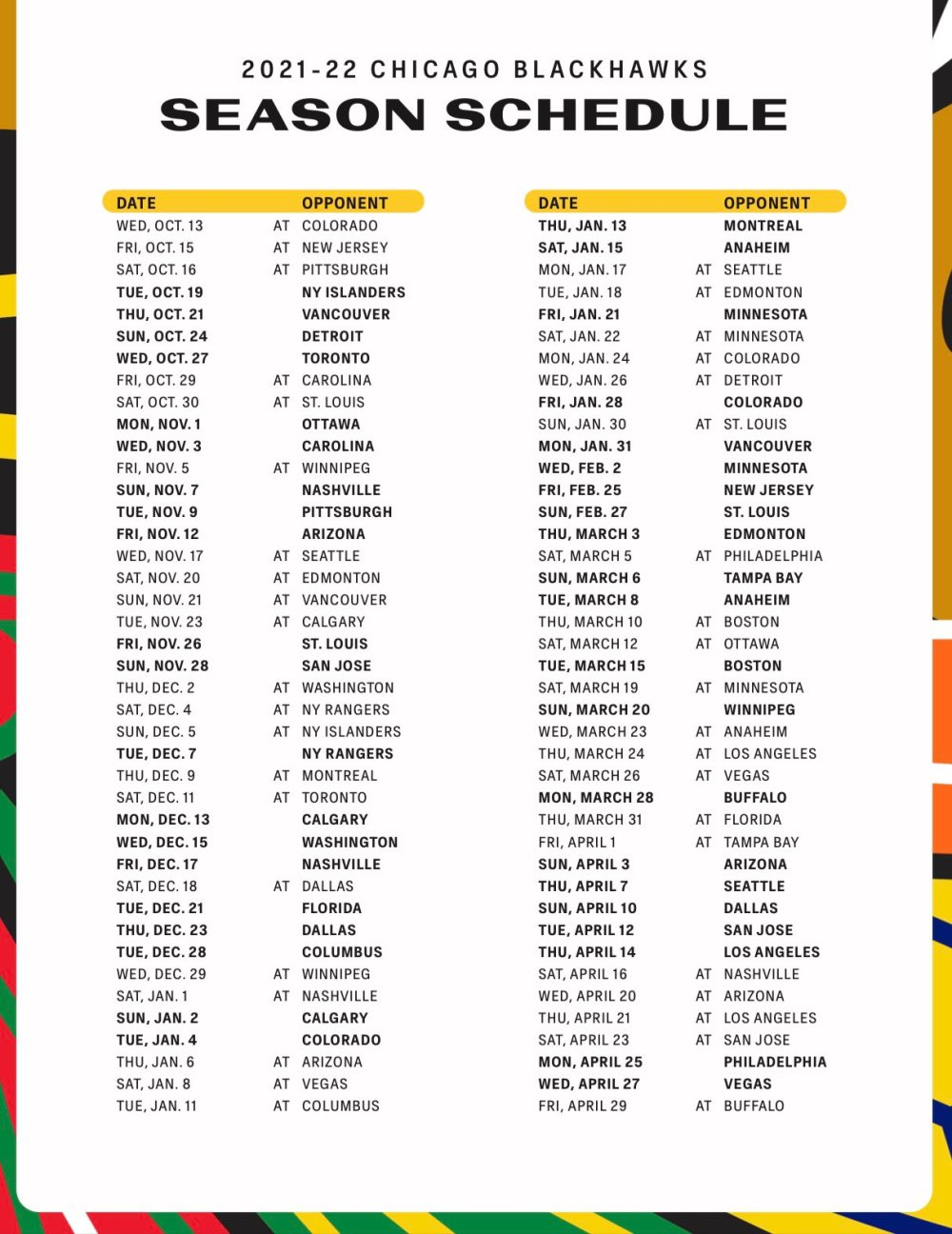 Chicago Blackhawks 2021-22 Schedule