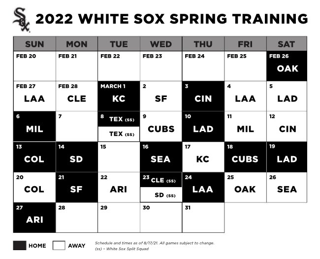 White Sox 2022 Spring Training Schedule