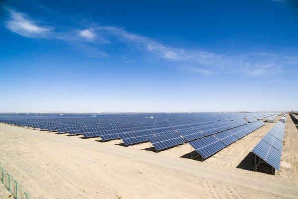solar farm being monitored by drones