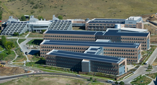 August 7, 2012 - Aerial view of the National Renewable Energy Laboratory (NREL) South Table Mesa Campus (STM). (Photo by Dennis Schroeder / NREL)