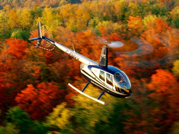 Helicopter flying over brightly coloured forest.