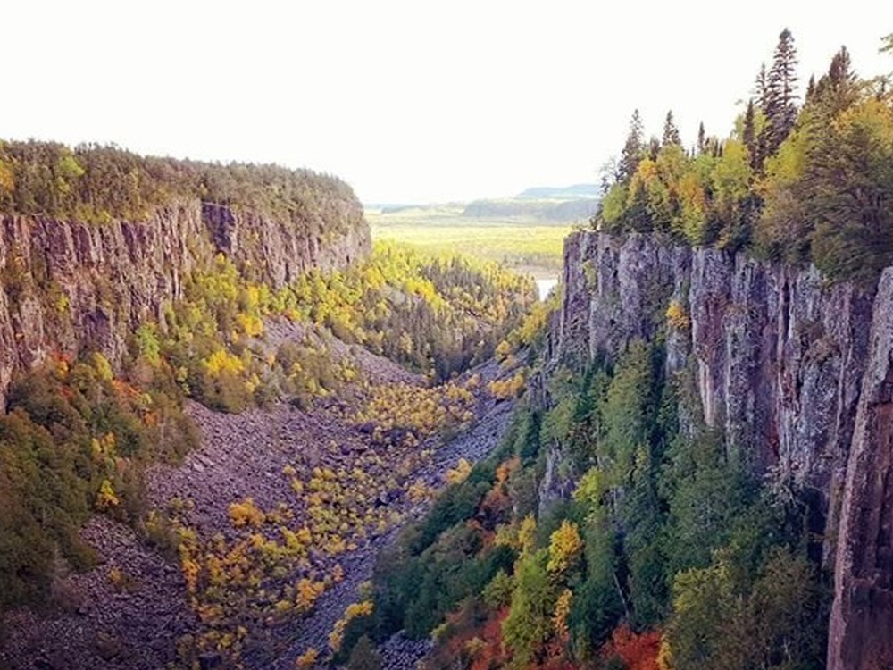 Cliffs and valley of Ouimet Canyon