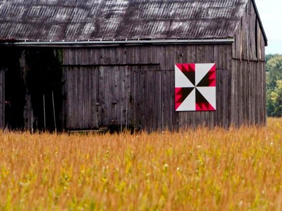 Barn quilt design named Rosebud in Chatham-Kent