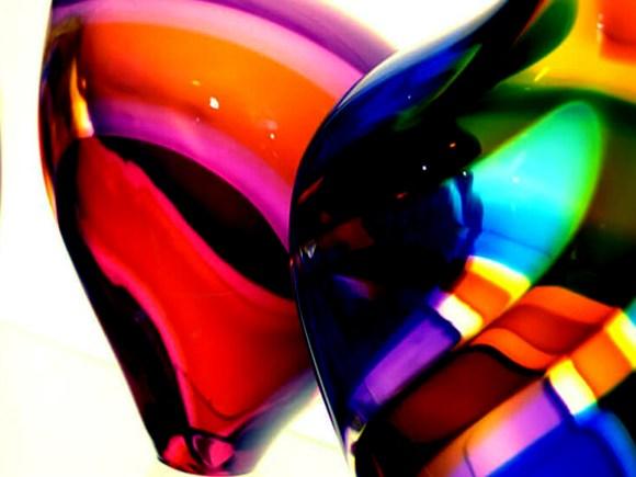 Close-up image of mulit-coloured glassware.