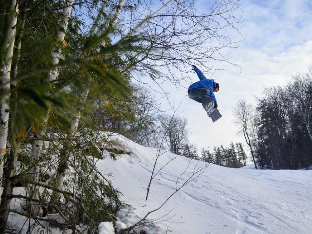A person snowboarding.