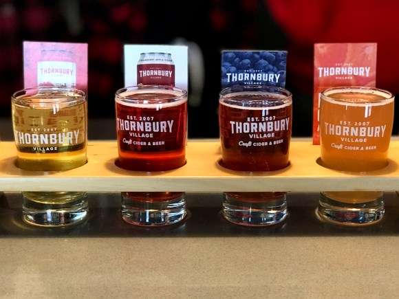 Flight of ciders at Thornbury Village Cider House