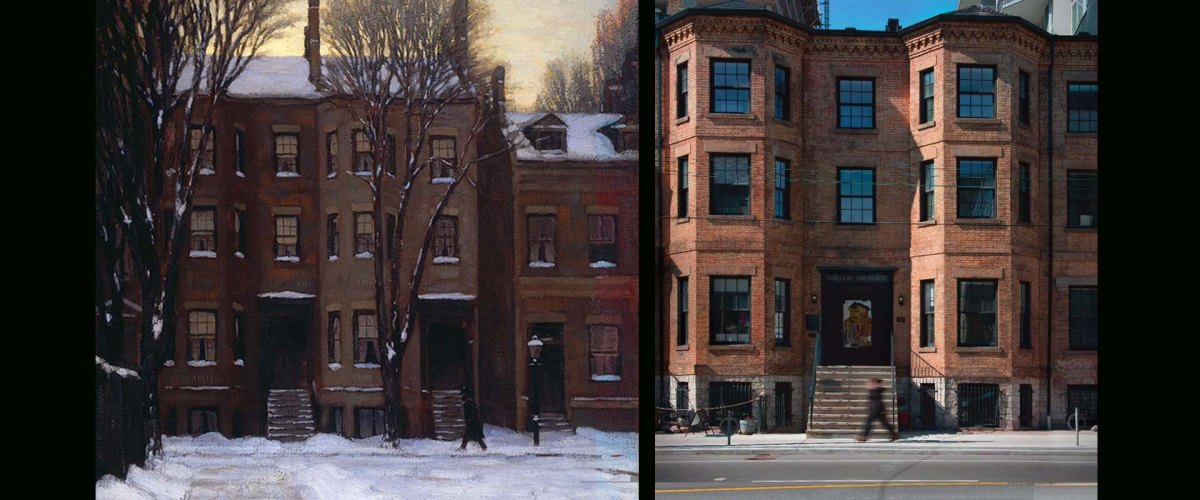 painting and photo of street scene