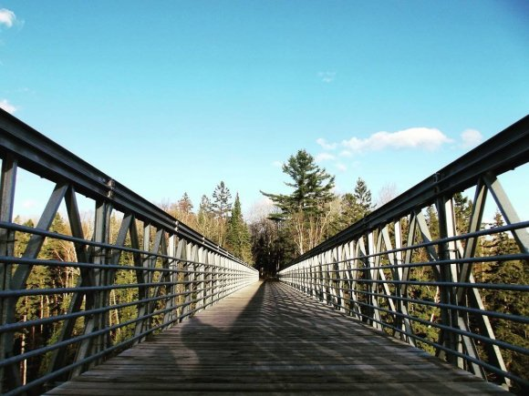 pedestrian bridge connecting trails in Fort Creek Conservation Area