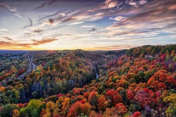 view of fall colour across Dundas Valley