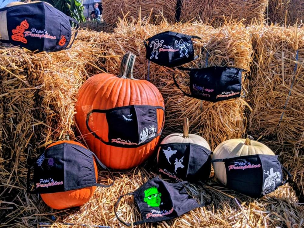 pumpkins wearing face masks