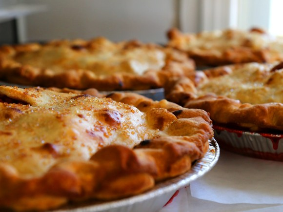 Four freshly baked pies