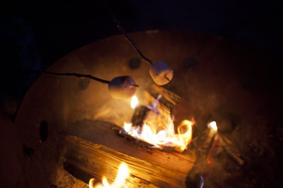 marshmallows roasting over a fire pit