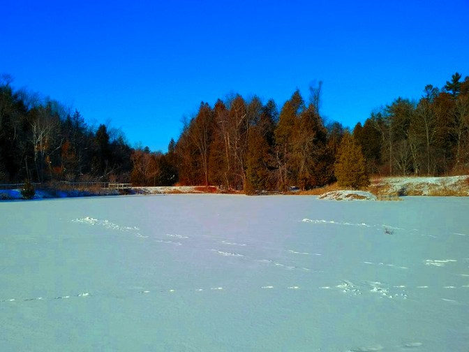 The frozen Devil's Den pond.