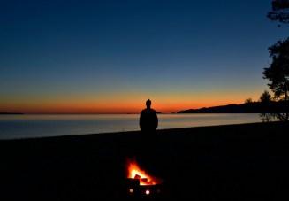 Sunset campfire.