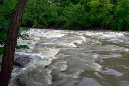 Swift flowing rapids.
