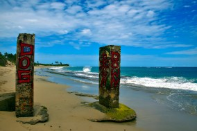 The two pillars. What remains of someones private paradise.