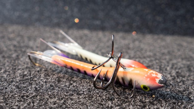 "These lures were originally intended for ice fishing. We replace the small ""ice fishing"" treble hook on the belly of the bait with a Mustad UltraPoint KVD Elite Triple Grip Treble Hook (TG76BLN)."