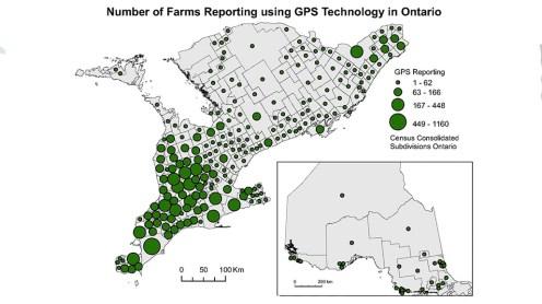 MAP ILLUSTRATING THE ADOPTION OF GPS TECHNOLOGIES.