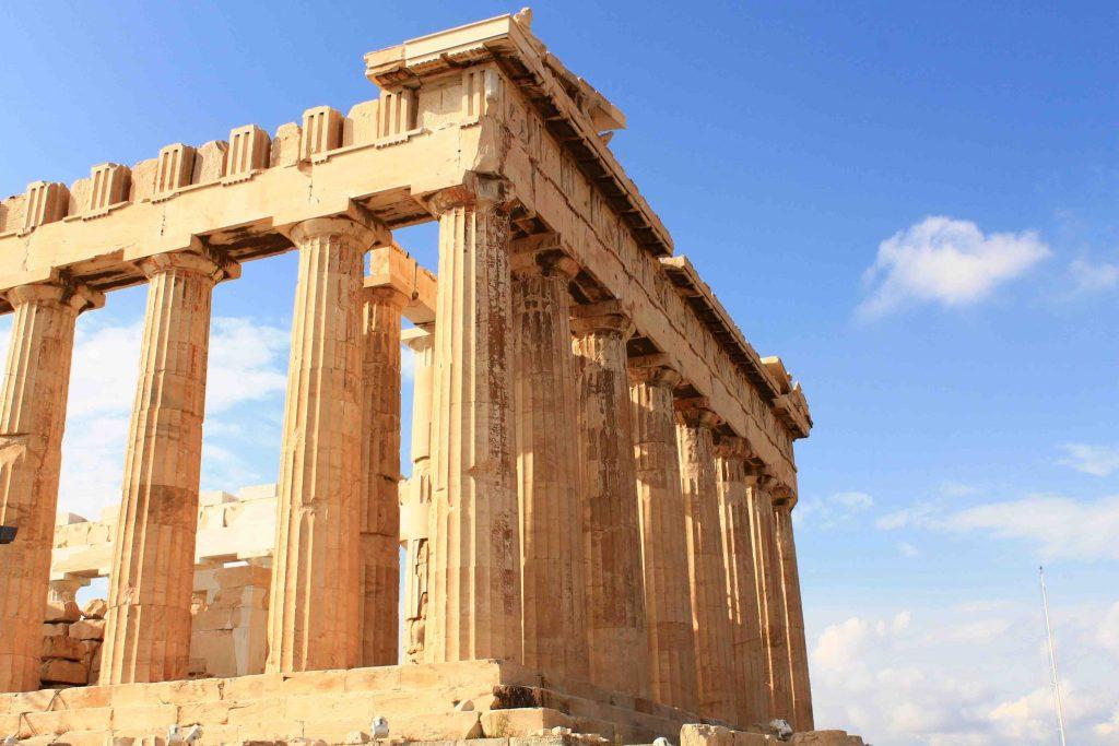Parthenon Acropolis Athene vanaf Evia Griekenland