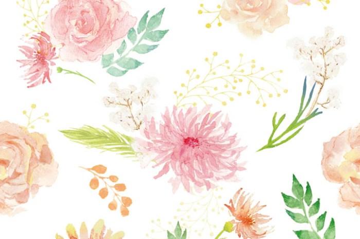 2018年3月免費月曆卡片~清新水彩花卉pattern