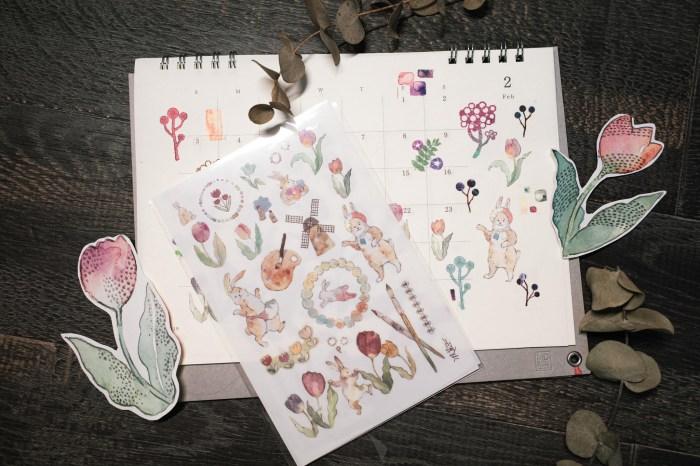 文具控&居家小物專用:鬱金香兔兔無痕轉印貼紙