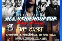 All Star Rooftop Day Party with DJ Kid Capri at Fuego Lounge in DTLA.