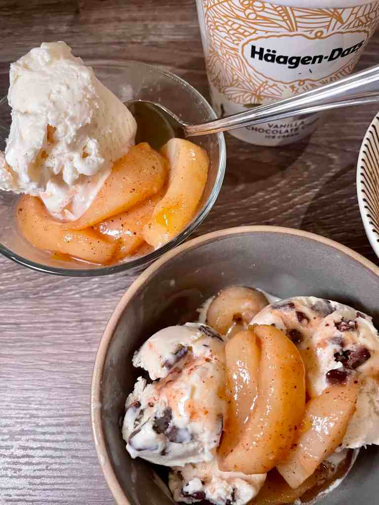 Tipsy Pears over Ice Cream