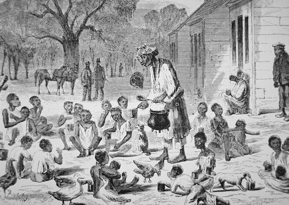 PNP249300 A cook feeding slave children on a Southern plantation, c.1860 (engraving); by American School, (19th century); Private Collection; Peter Newark American Pictures; American, out of copyright