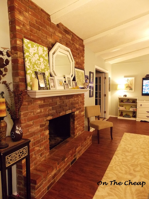 Red Brick Fireplace White Mantel  On The Cheap