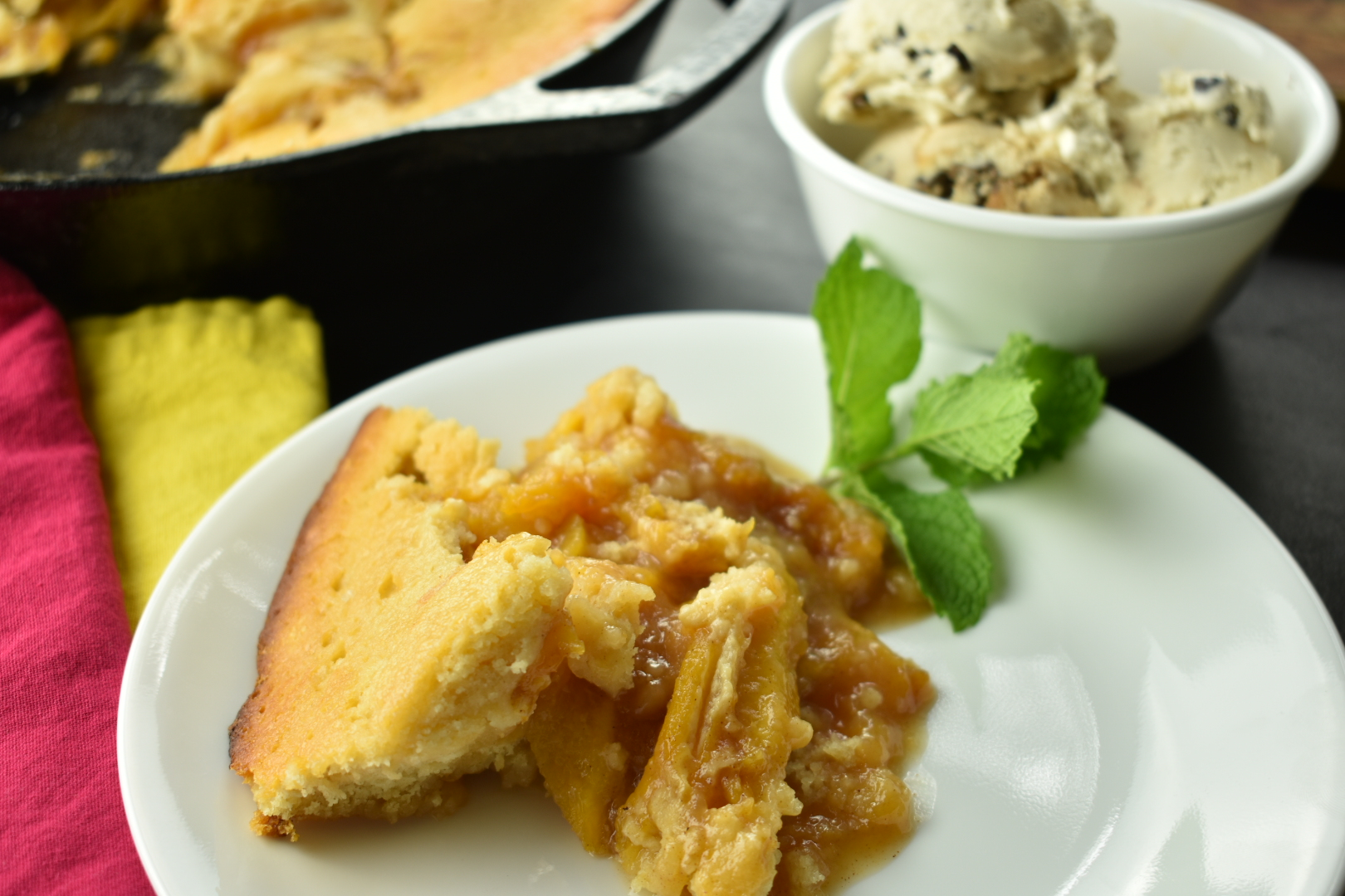 Skillet Peach Cobbler with Ginger and Star Anise