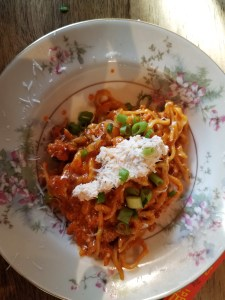Pasta with House Cured Sausage Kimchee Sauce and Ricotta