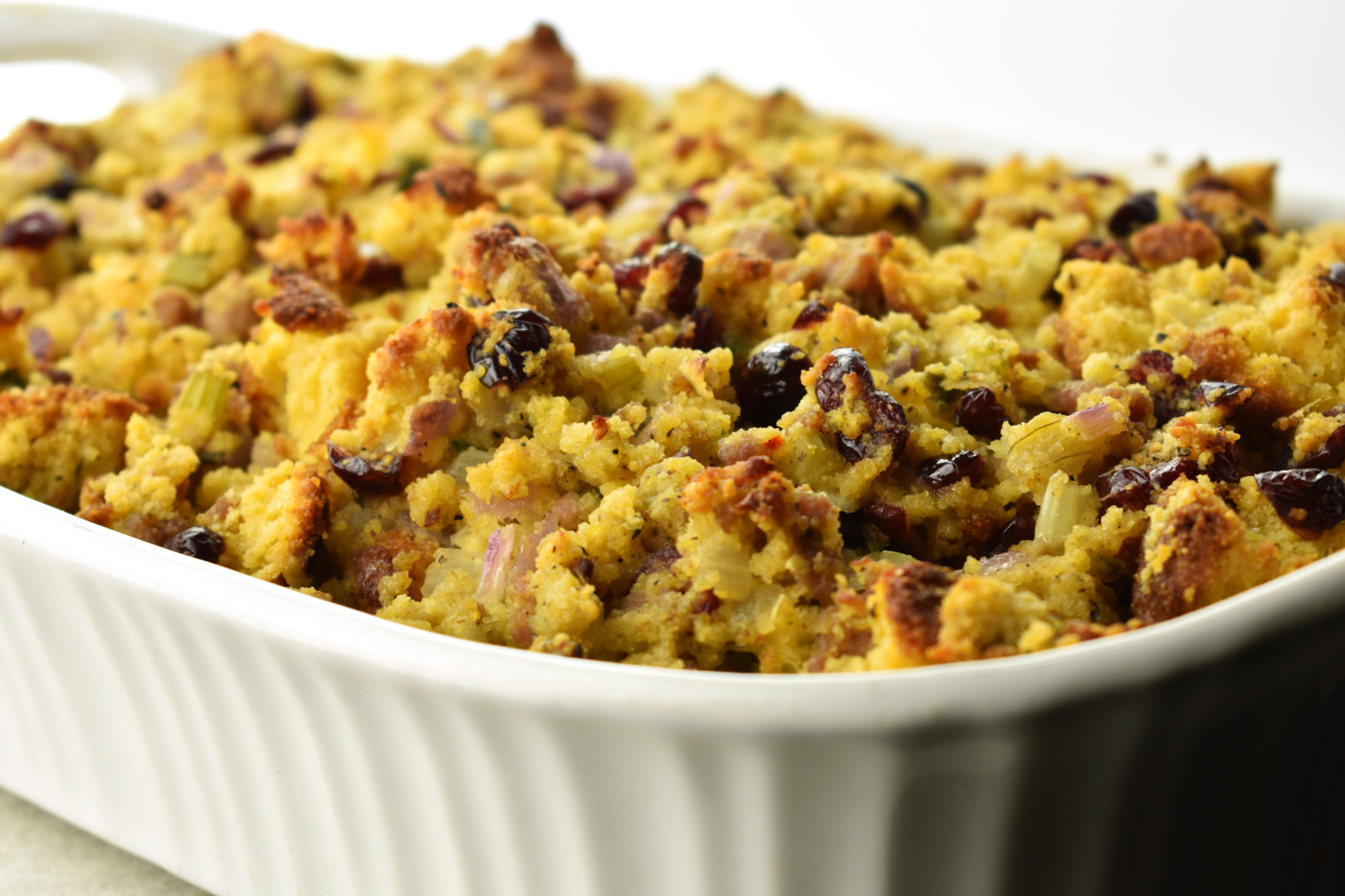 Jalapeno Cornbread Stuffing with Sausage and Dried Cranberries