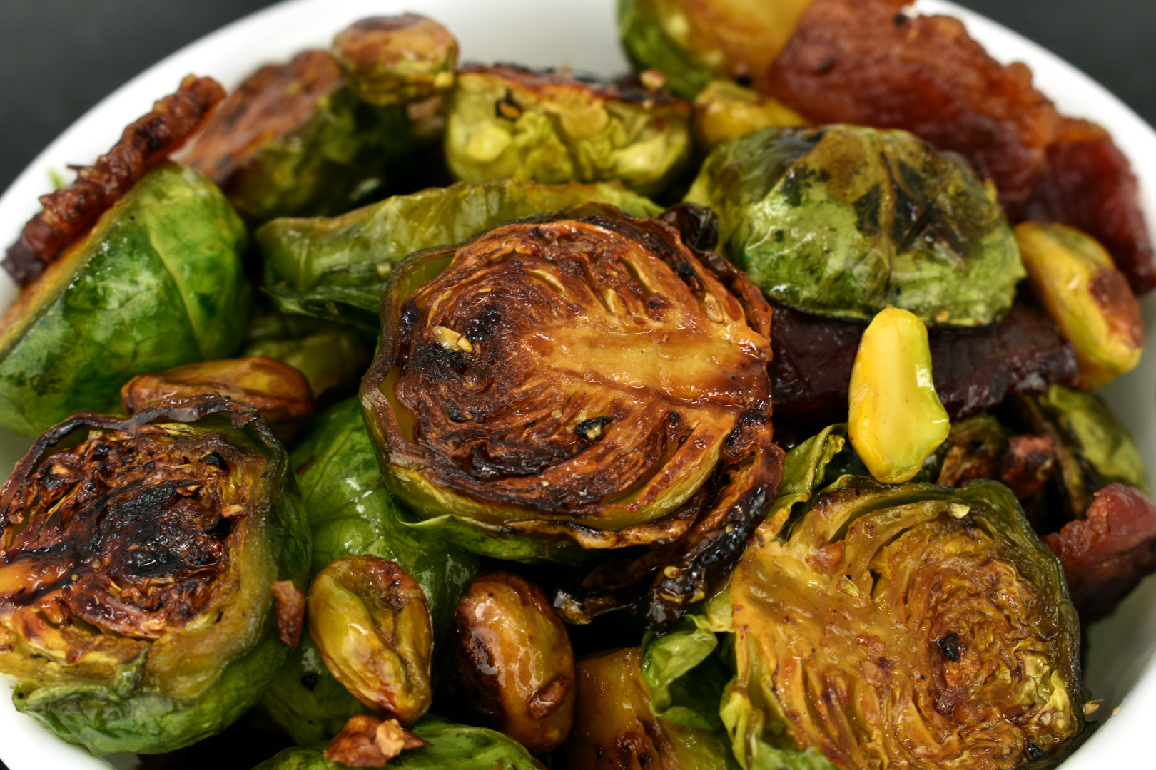 Maple Brussels Sprouts with Bacon and Pistachios
