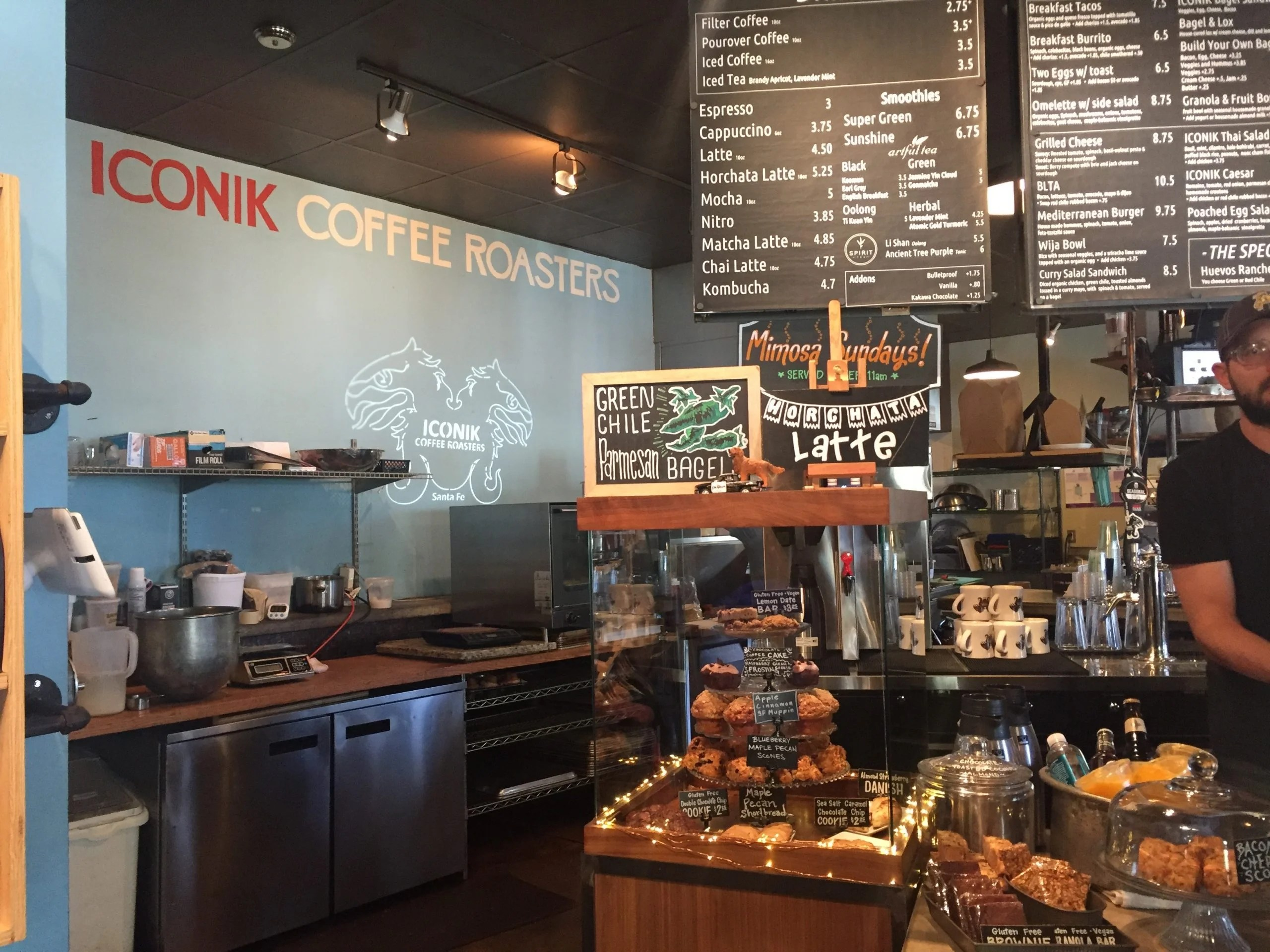 the menu at iconik coffee roasters in Santa Fe, New Mexico