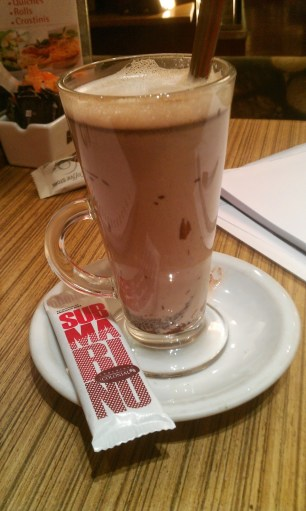 """Submarino""- You dunk a chocolate bar into hot milk"