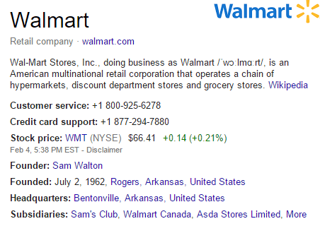 Walmart Knowledge Graph Listing