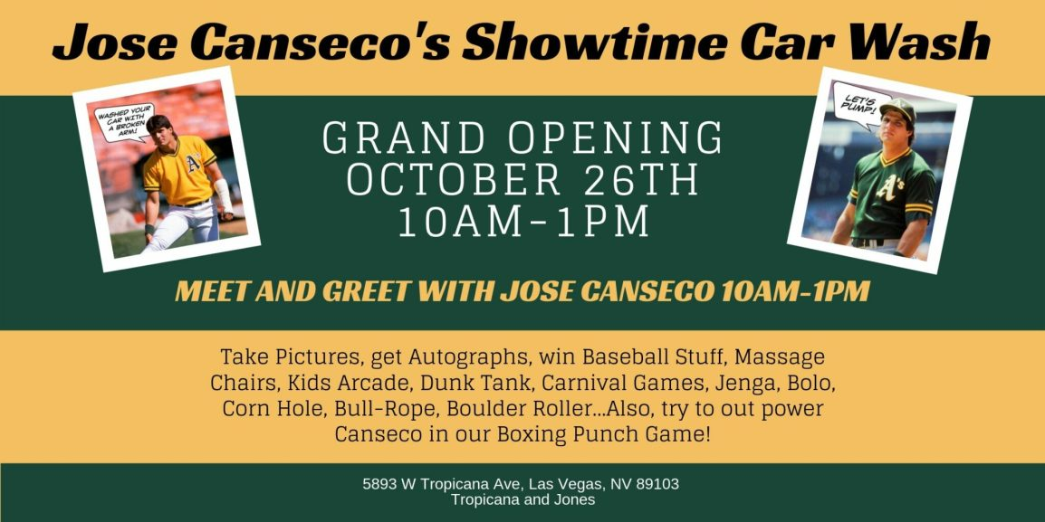 Jose Canseco's Showtime Car Wash Grand Opening Banner